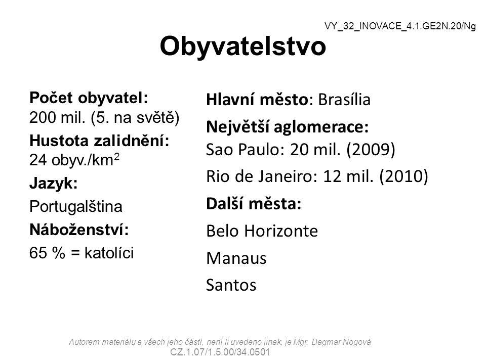 Obyvatelstvo Počet obyvatel: 200 mil. (5. na světě) Hustota zalidnění: 24 obyv./km 2 Jazyk: Portugalština Náboženství: 65 % = katolíci Autorem materiá