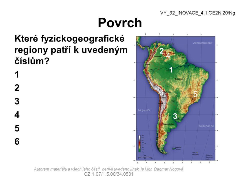 Problémy Vypalování a kácení tropického deštného lesa Eroze půdy Znečišťování ovzduší, vody a půdy v důsledku průmyslové a zemědělské činnosti Vysoká zločinnost Nekontrolovaný růst počtu obyvatel Problémy v zásobování pitnou vodou a při likvidaci odpadů VY_32_INOVACE_4.1.GE2N.20/Ng Autorem materiálu a všech jeho částí, není-li uvedeno jinak, je Mgr.