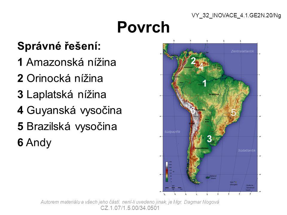 Povrch Správné řešení: 1 Amazonská nížina 2 Orinocká nížina 3 Laplatská nížina 4 Guyanská vysočina 5 Brazilská vysočina 6 Andy Autorem materiálu a vše
