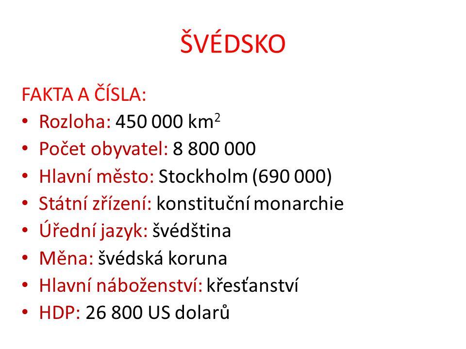 ŠVÉDSKO FAKTA A ČÍSLA: Rozloha: 450 000 km 2 Počet obyvatel: 8 800 000 Hlavní město: Stockholm (690 000) Státní zřízení: konstituční monarchie Úřední jazyk: švédština Měna: švédská koruna Hlavní náboženství: křesťanství HDP: 26 800 US dolarů