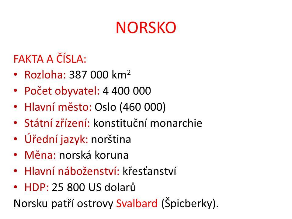 NORSKO FAKTA A ČÍSLA: Rozloha: 387 000 km 2 Počet obyvatel: 4 400 000 Hlavní město: Oslo (460 000) Státní zřízení: konstituční monarchie Úřední jazyk: norština Měna: norská koruna Hlavní náboženství: křesťanství HDP: 25 800 US dolarů Norsku patří ostrovy Svalbard (Špicberky).
