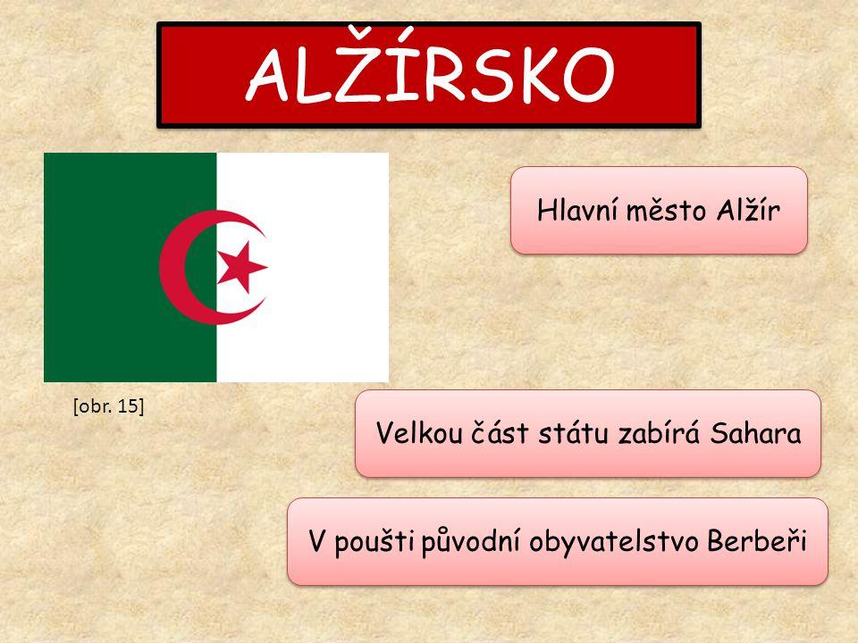 ALŽÍRSKO Hlavní město Alžír Velkou část státu zabírá Sahara V poušti původní obyvatelstvo Berbeři [obr.