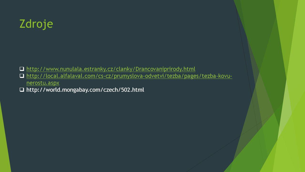 Zdroje  http://www.nunulala.estranky.cz/clanky/Drancovaniprirody.html http://www.nunulala.estranky.cz/clanky/Drancovaniprirody.html  http://local.al