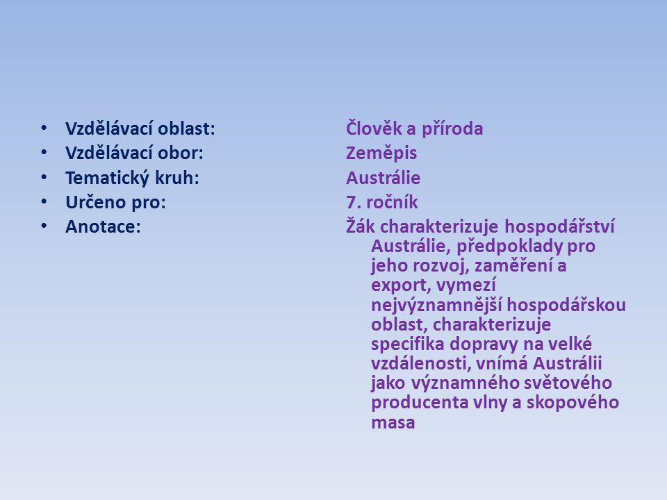 Vzdělávací oblast: Vzdělávací obor: Tematický kruh: Určeno pro: Anotace: Člověk a příroda Zeměpis Austrálie 7.