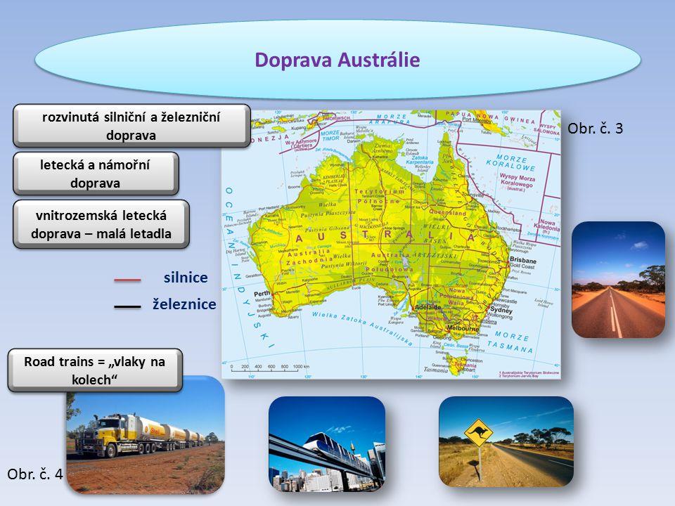 Doprava Austrálie železnice silnice rozvinutá silniční a železniční doprava letecká a námořní doprava vnitrozemská letecká doprava – malá letadla Obr.