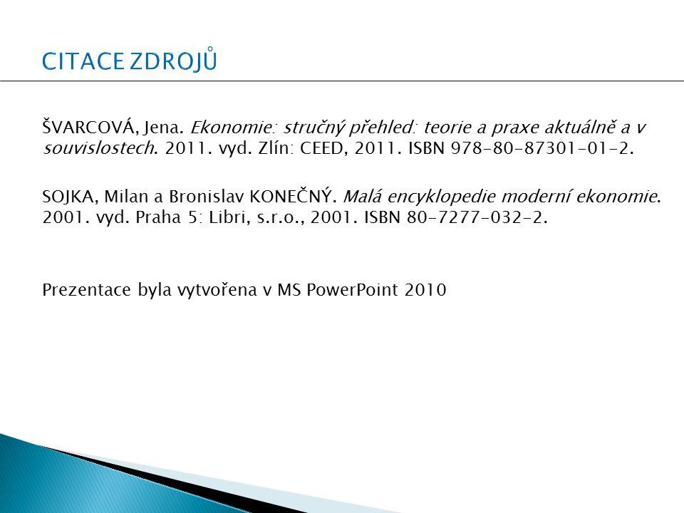 ŠVARCOVÁ, Jena. Ekonomie: stručný přehled: teorie a praxe aktuálně a v souvislostech. 2011. vyd. Zlín: CEED, 2011. ISBN 978-80-87301-01-2. SOJKA, Mila