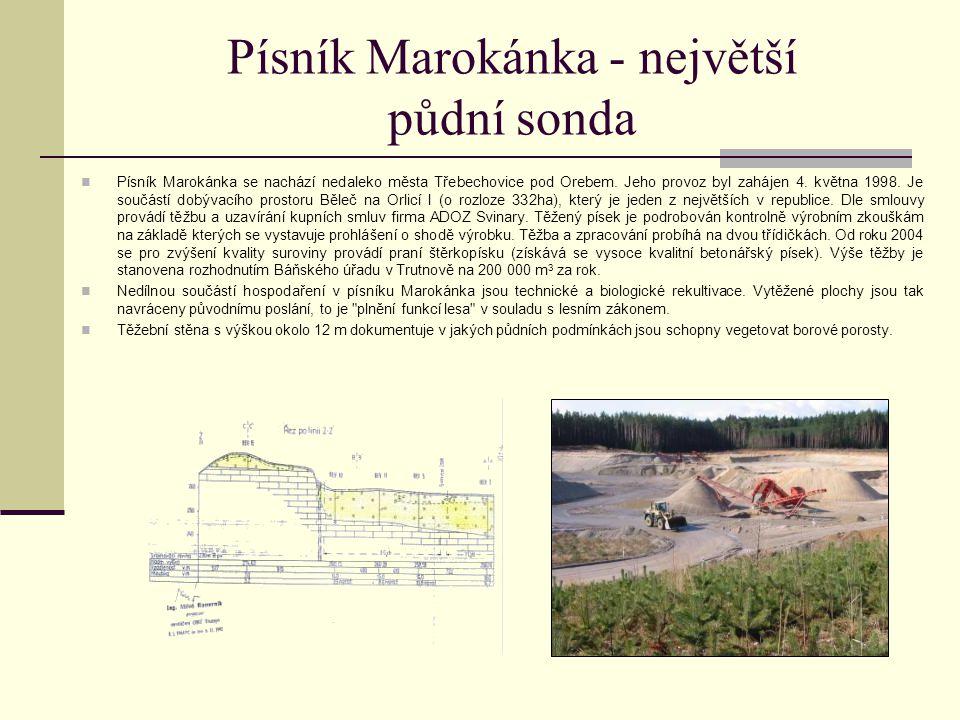 Písník Marokánka - největší půdní sonda Písník Marokánka se nachází nedaleko města Třebechovice pod Orebem. Jeho provoz byl zahájen 4. května 1998. Je
