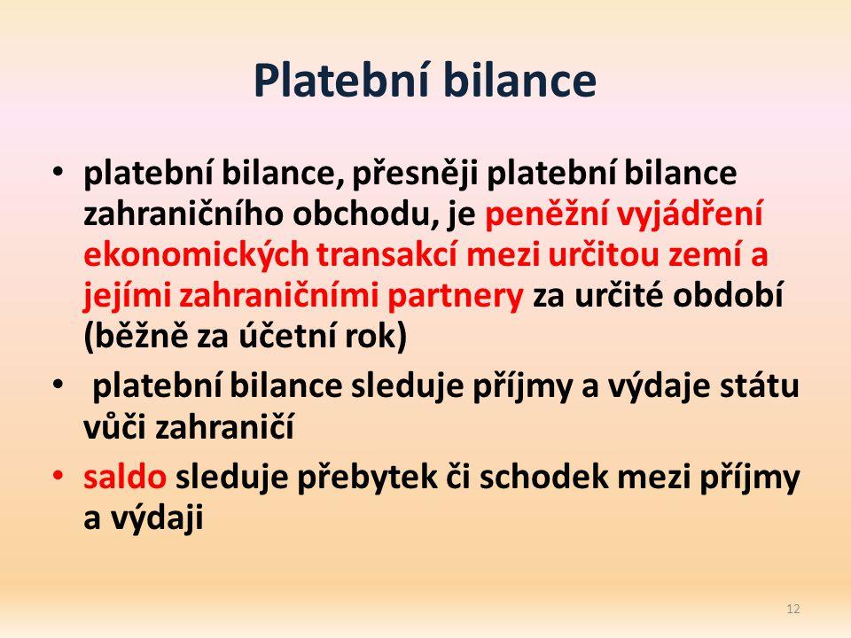 Platební bilance platební bilance, přesněji platební bilance zahraničního obchodu, je peněžní vyjádření ekonomických transakcí mezi určitou zemí a jejími zahraničními partnery za určité období (běžně za účetní rok) platební bilance sleduje příjmy a výdaje státu vůči zahraničí saldo sleduje přebytek či schodek mezi příjmy a výdaji 12
