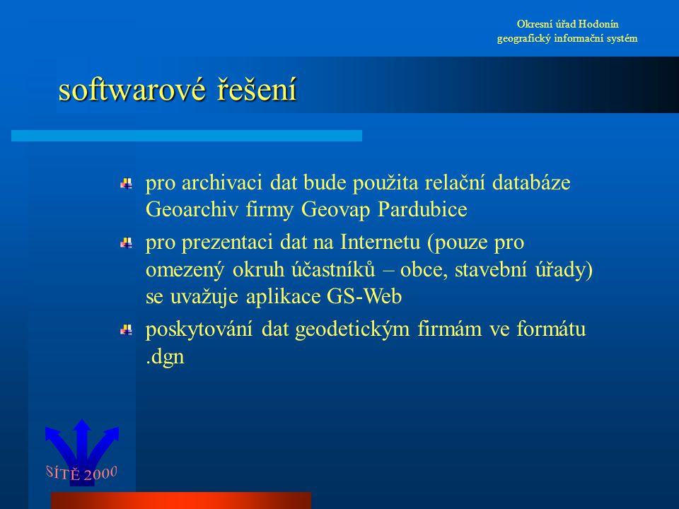 softwarové řešení Okresní úřad Hodonín geografický informační systém pro archivaci dat bude použita relační databáze Geoarchiv firmy Geovap Pardubice