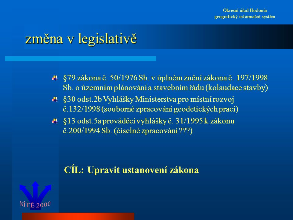 změna v legislativě Okresní úřad Hodonín geografický informační systém §79 zákona č. 50/1976 Sb. v úplném znění zákona č. 197/1998 Sb. o územním pláno