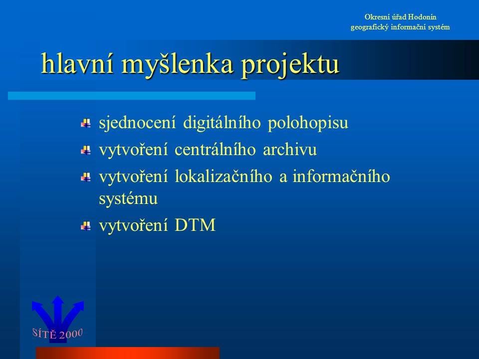 hlavní myšlenka projektu sjednocení digitálního polohopisu vytvoření centrálního archivu vytvoření lokalizačního a informačního systému vytvoření DTM