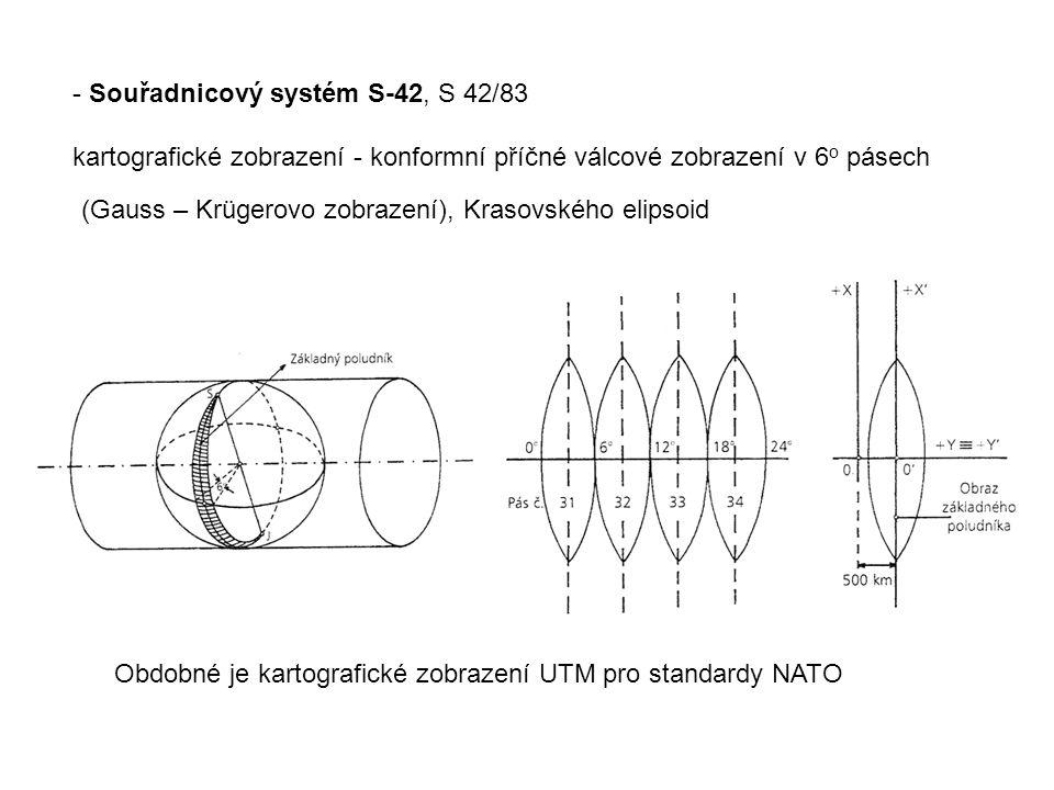 - Souřadnicový systém S-42, S 42/83 kartografické zobrazení - konformní příčné válcové zobrazení v 6 o pásech (Gauss – Krügerovo zobrazení), Krasovského elipsoid Obdobné je kartografické zobrazení UTM pro standardy NATO