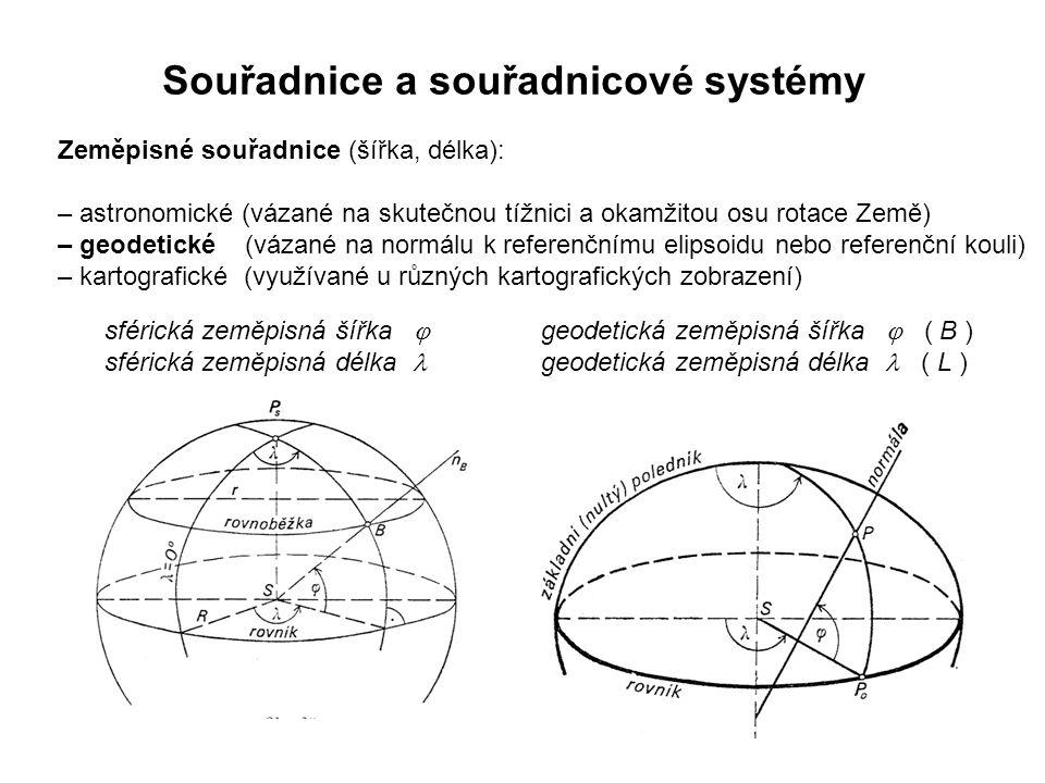 Zeměpisné souřadnice (šířka, délka): – astronomické (vázané na skutečnou tížnici a okamžitou osu rotace Země) – geodetické (vázané na normálu k referenčnímu elipsoidu nebo referenční kouli) – kartografické (využívané u různých kartografických zobrazení) Souřadnice a souřadnicové systémy geodetická zeměpisná šířka  ( B ) geodetická zeměpisná délka ( L ) sférická zeměpisná šířka  sférická zeměpisná délka
