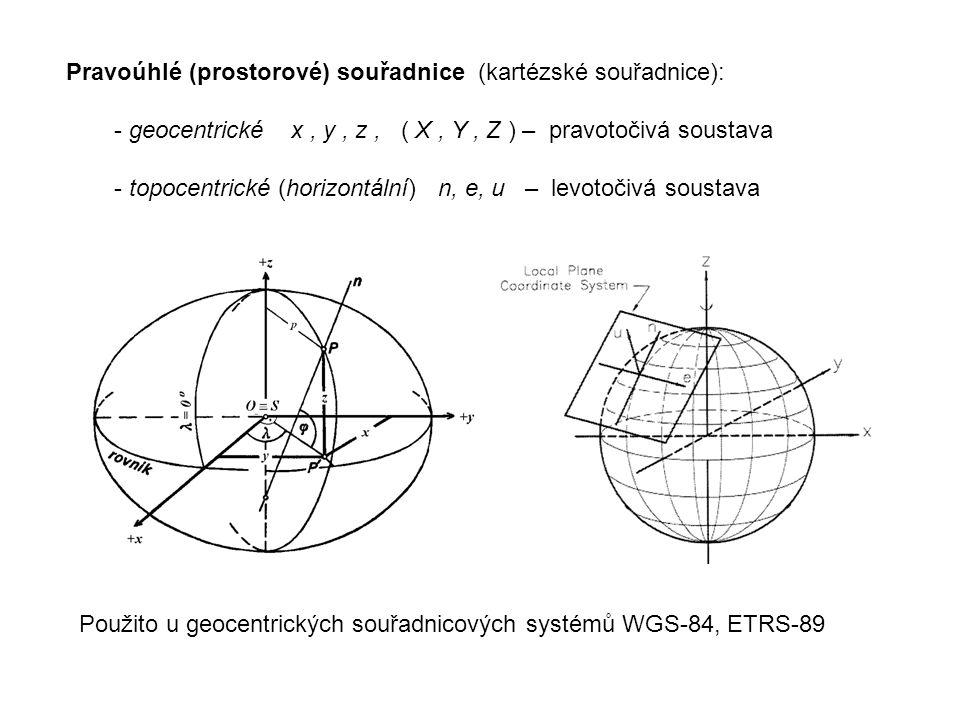 Pravoúhlé (prostorové) souřadnice (kartézské souřadnice): - geocentrické x, y, z, ( X, Y, Z ) – pravotočivá soustava - topocentrické (horizontální) n, e, u – levotočivá soustava Použito u geocentrických souřadnicových systémů WGS-84, ETRS-89