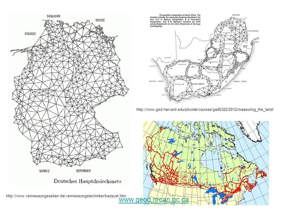 Trigonometrické sítě na našem území První triangulace (Liesganigovo stupňové měření) : 1759-1768 Katastrální triangulace (síť stabilního katastru): 1821-1864 Rakousko 1807-, Slovensko 1853-1864 Vojenská síť (síť VZÚ ve Vídni): 1862-1898 v rámci středoevropského stupňového měření Jednotná trigonometrická síť katastrální: 1920-1957 ČsJTS, S-JTSK Astronomicko-geodetická síť (ČsAGS, JAGS) 1931-1957 Družicové sítě (prostorové sítě) 1991 -