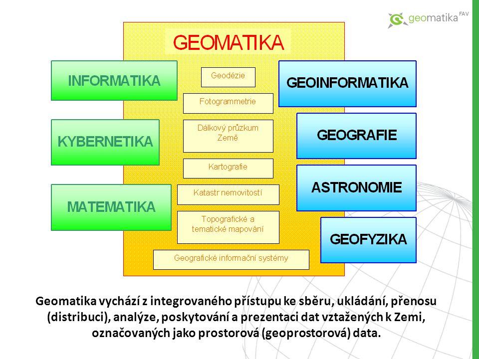 Geomatika vychází z integrovaného přístupu ke sběru, ukládání, přenosu (distribuci), analýze, poskytování a prezentaci dat vztažených k Zemi, označova