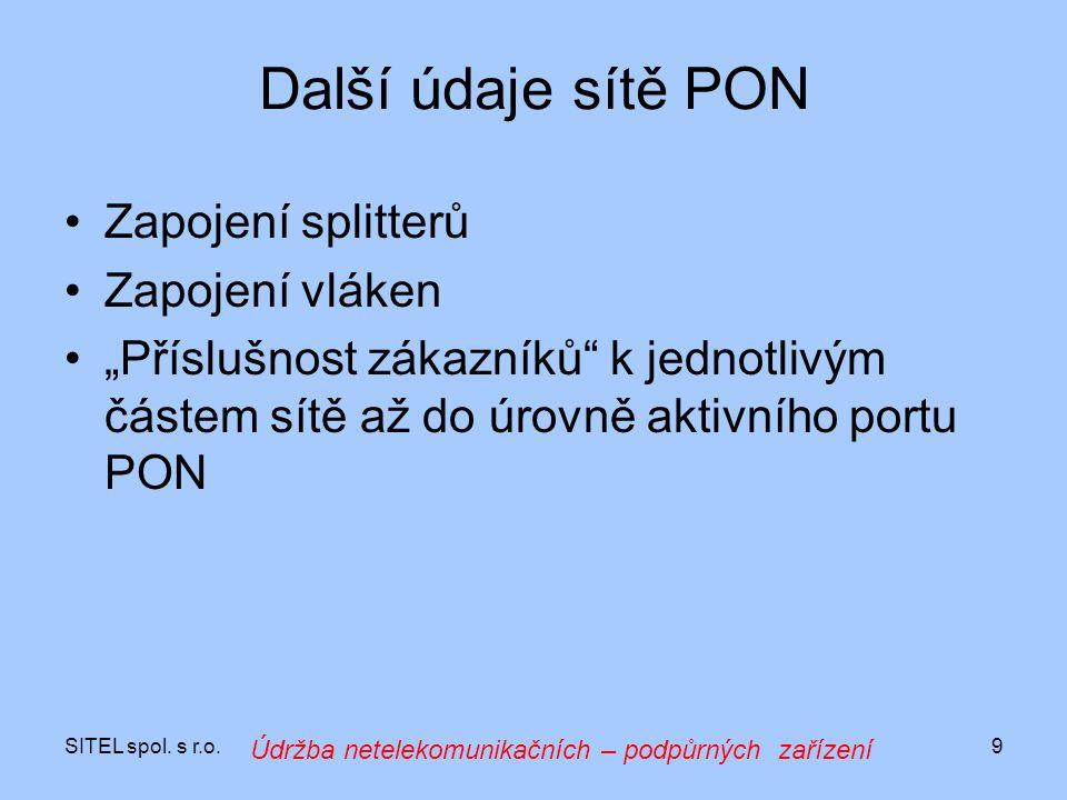 """SITEL spol. s r.o.9 Další údaje sítě PON Zapojení splitterů Zapojení vláken """"Příslušnost zákazníků"""" k jednotlivým částem sítě až do úrovně aktivního p"""