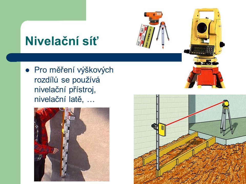 Nivelační síť Pro měření výškových rozdílů se používá nivelační přístroj, nivelační latě, …