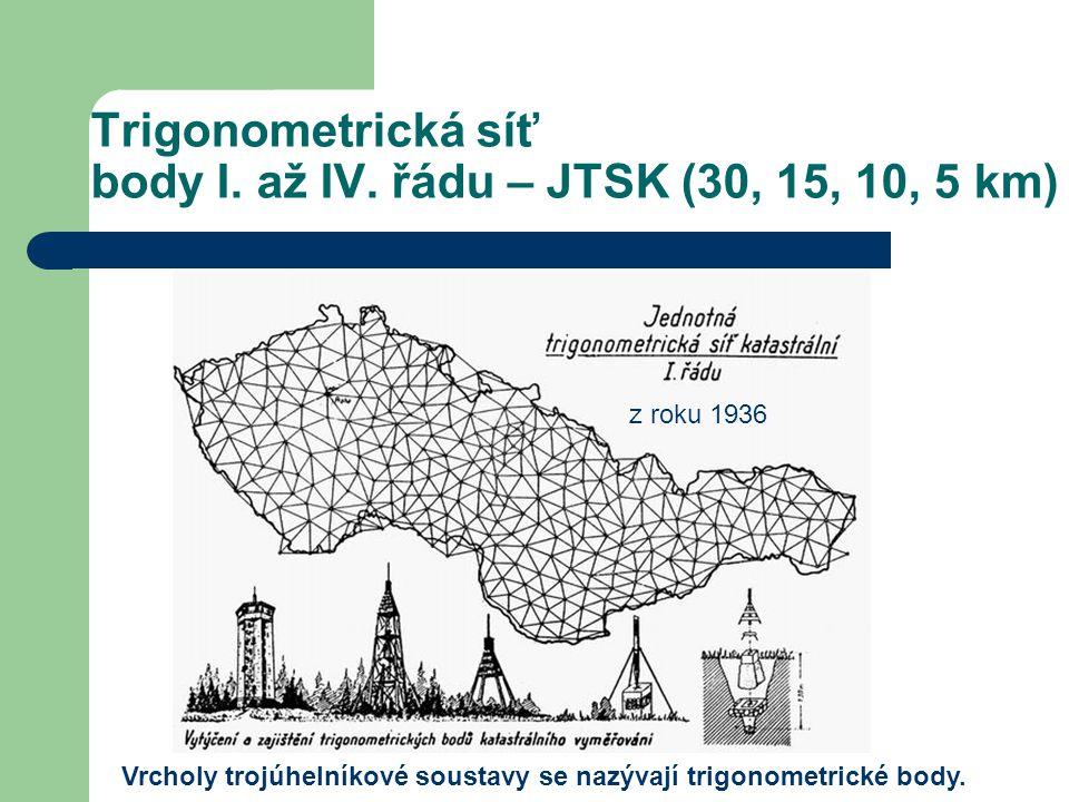 Trigonometrická síť body I. až IV. řádu – JTSK (30, 15, 10, 5 km) Vrcholy trojúhelníkové soustavy se nazývají trigonometrické body. z roku 1936