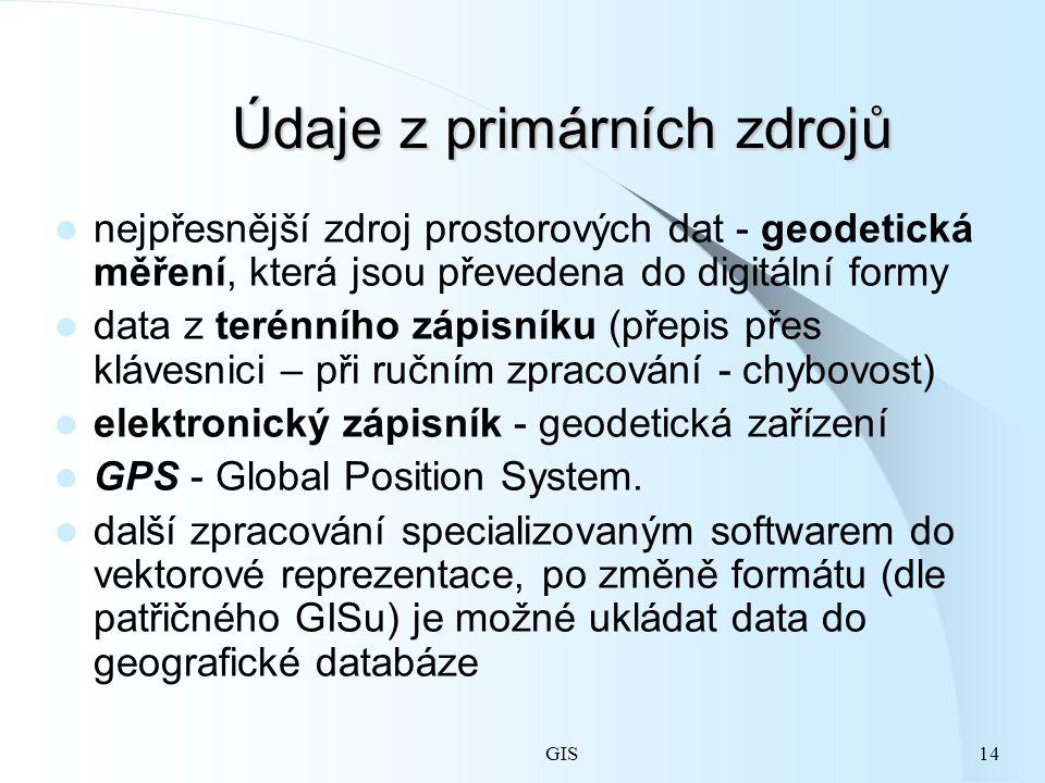 GIS14 Údaje z primárních zdrojů nejpřesnější zdroj prostorových dat - geodetická měření, která jsou převedena do digitální formy data z terénního zápisníku (přepis přes klávesnici – při ručním zpracování - chybovost) elektronický zápisník - geodetická zařízení GPS - Global Position System.