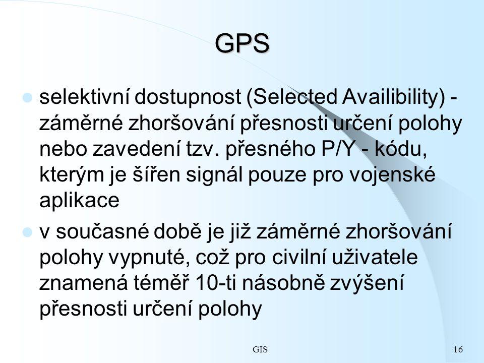 GIS16 GPS selektivní dostupnost (Selected Availibility) - záměrné zhoršování přesnosti určení polohy nebo zavedení tzv.