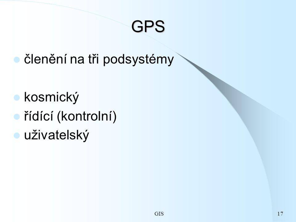 GIS17 GPS členění na tři podsystémy kosmický řídící (kontrolní) uživatelský