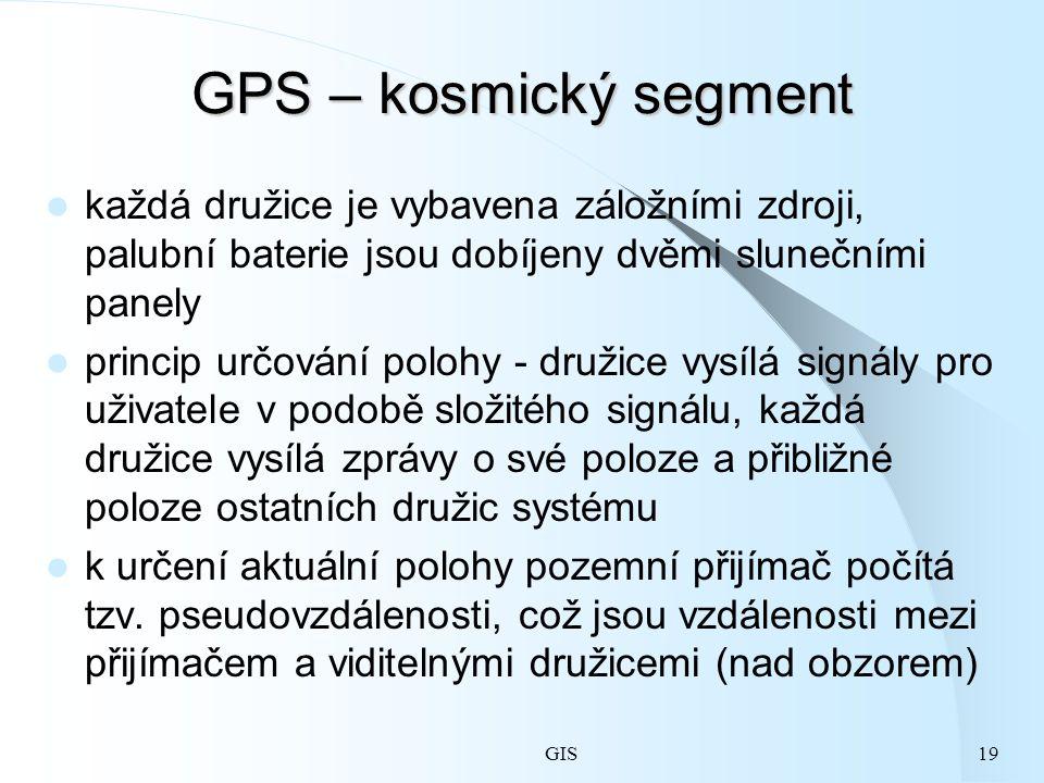 GIS19 GPS – kosmický segment každá družice je vybavena záložními zdroji, palubní baterie jsou dobíjeny dvěmi slunečními panely princip určování polohy - družice vysílá signály pro uživatele v podobě složitého signálu, každá družice vysílá zprávy o své poloze a přibližné poloze ostatních družic systému k určení aktuální polohy pozemní přijímač počítá tzv.