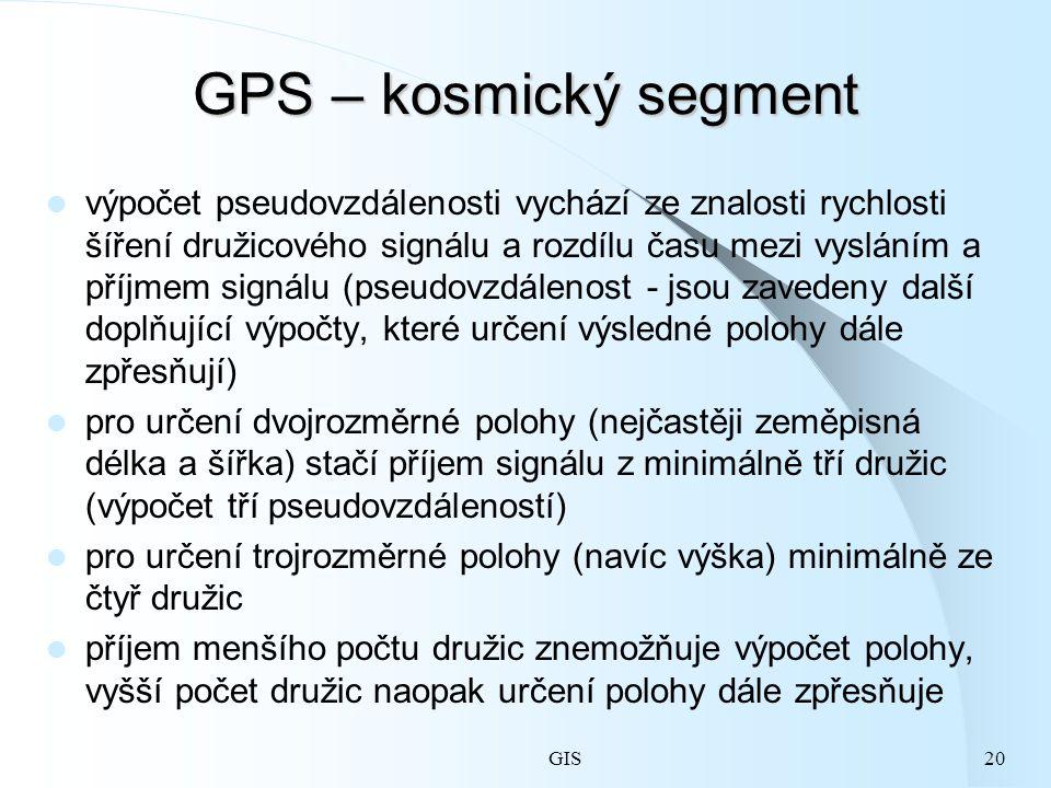 GIS20 GPS – kosmický segment výpočet pseudovzdálenosti vychází ze znalosti rychlosti šíření družicového signálu a rozdílu času mezi vysláním a příjmem signálu (pseudovzdálenost - jsou zavedeny další doplňující výpočty, které určení výsledné polohy dále zpřesňují) pro určení dvojrozměrné polohy (nejčastěji zeměpisná délka a šířka) stačí příjem signálu z minimálně tří družic (výpočet tří pseudovzdáleností) pro určení trojrozměrné polohy (navíc výška) minimálně ze čtyř družic příjem menšího počtu družic znemožňuje výpočet polohy, vyšší počet družic naopak určení polohy dále zpřesňuje