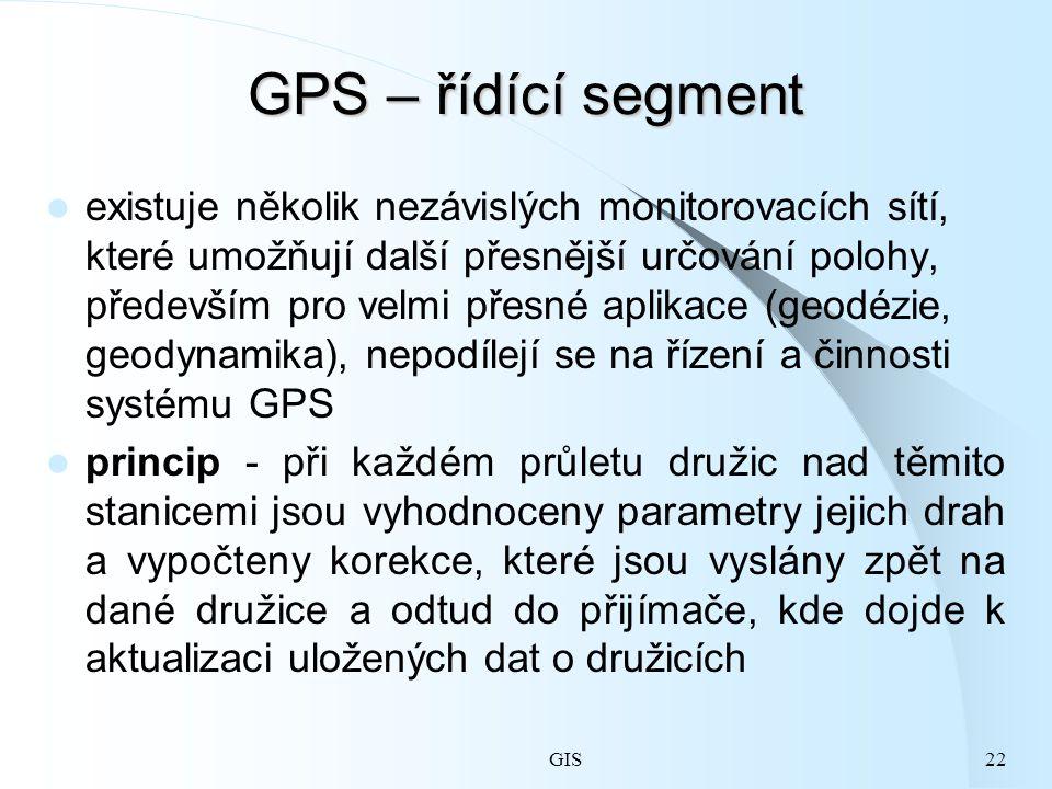 GIS22 GPS – řídící segment existuje několik nezávislých monitorovacích sítí, které umožňují další přesnější určování polohy, především pro velmi přesné aplikace (geodézie, geodynamika), nepodílejí se na řízení a činnosti systému GPS princip - při každém průletu družic nad těmito stanicemi jsou vyhodnoceny parametry jejich drah a vypočteny korekce, které jsou vyslány zpět na dané družice a odtud do přijímače, kde dojde k aktualizaci uložených dat o družicích