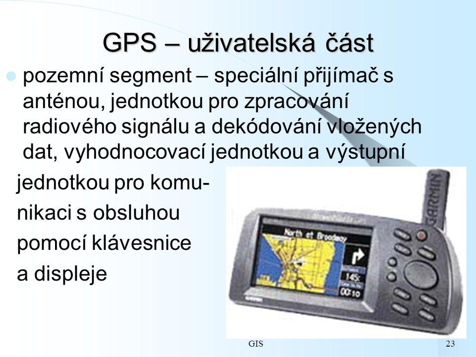 GIS23 GPS – uživatelská část pozemní segment – speciální přijímač s anténou, jednotkou pro zpracování radiového signálu a dekódování vložených dat, vyhodnocovací jednotkou a výstupní jednotkou pro komu- nikaci s obsluhou pomocí klávesnice a displeje
