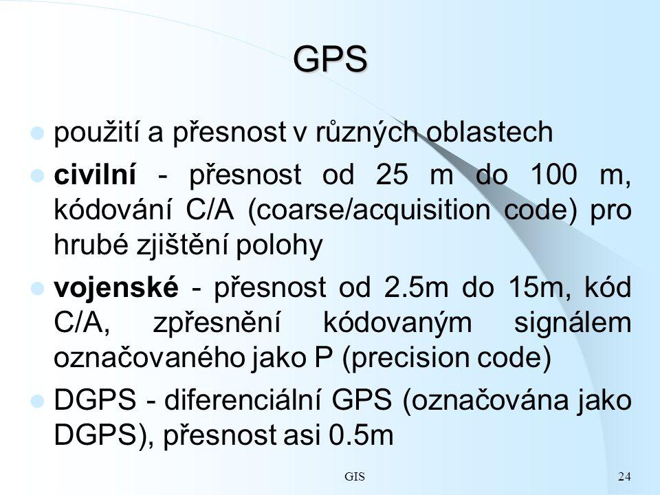 GIS24 GPS použití a přesnost v různých oblastech civilní - přesnost od 25 m do 100 m, kódování C/A (coarse/acquisition code) pro hrubé zjištění polohy vojenské - přesnost od 2.5m do 15m, kód C/A, zpřesnění kódovaným signálem označovaného jako P (precision code) DGPS - diferenciální GPS (označována jako DGPS), přesnost asi 0.5m