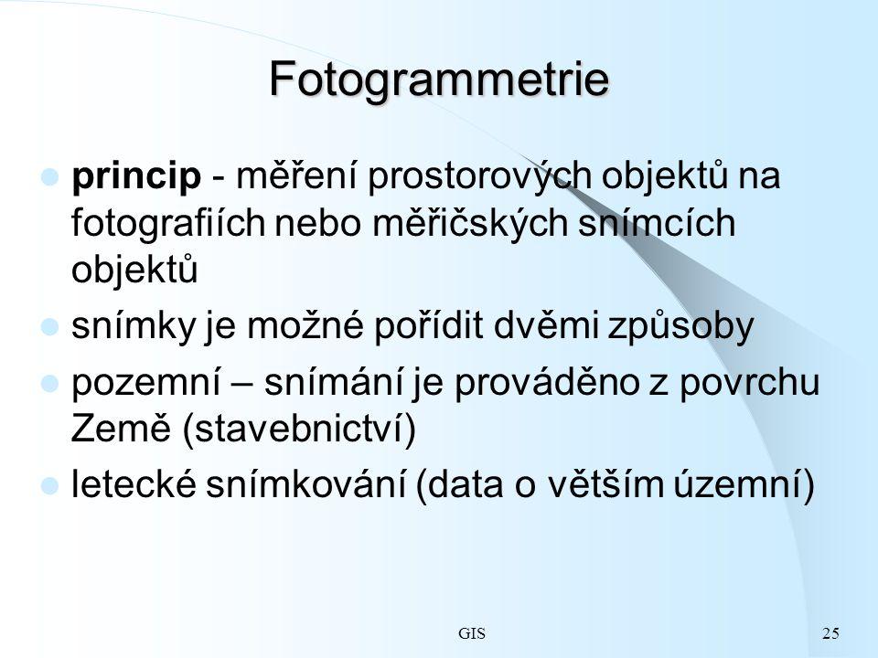GIS25 Fotogrammetrie princip - měření prostorových objektů na fotografiích nebo měřičských snímcích objektů snímky je možné pořídit dvěmi způsoby pozemní – snímání je prováděno z povrchu Země (stavebnictví) letecké snímkování (data o větším územní)