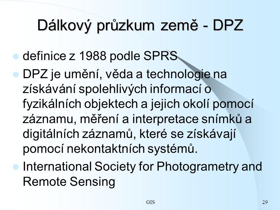 GIS29 Dálkový průzkum země - DPZ definice z 1988 podle SPRS DPZ je umění, věda a technologie na získávání spolehlivých informací o fyzikálních objektech a jejich okolí pomocí záznamu, měření a interpretace snímků a digitálních záznamů, které se získávají pomocí nekontaktních systémů.