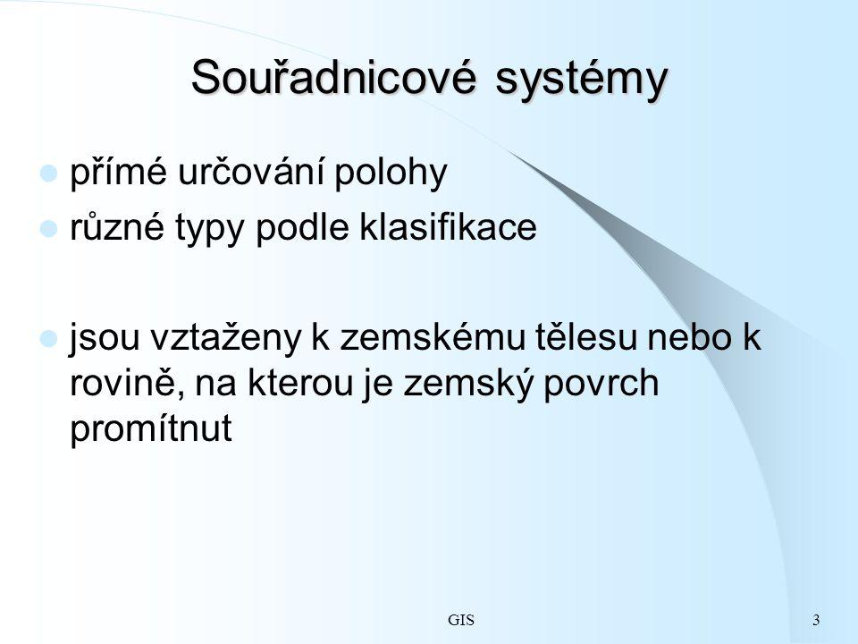 GIS3 Souřadnicové systémy přímé určování polohy různé typy podle klasifikace jsou vztaženy k zemskému tělesu nebo k rovině, na kterou je zemský povrch promítnut