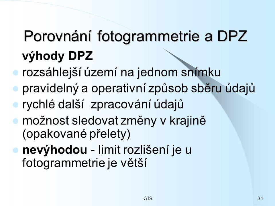 GIS34 Porovnání fotogrammetrie a DPZ výhody DPZ rozsáhlejší území na jednom snímku pravidelný a operativní způsob sběru údajů rychlé další zpracování údajů možnost sledovat změny v krajině (opakované přelety) nevýhodou - limit rozlišení je u fotogrammetrie je větší