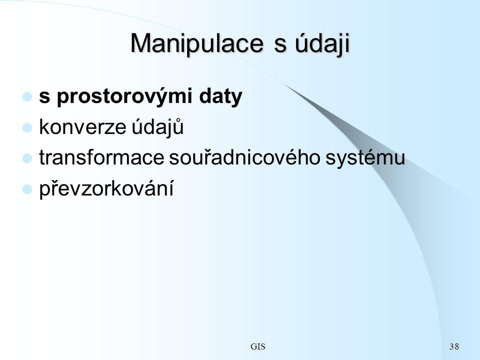 GIS38 Manipulace s údaji s prostorovými daty konverze údajů transformace souřadnicového systému převzorkování