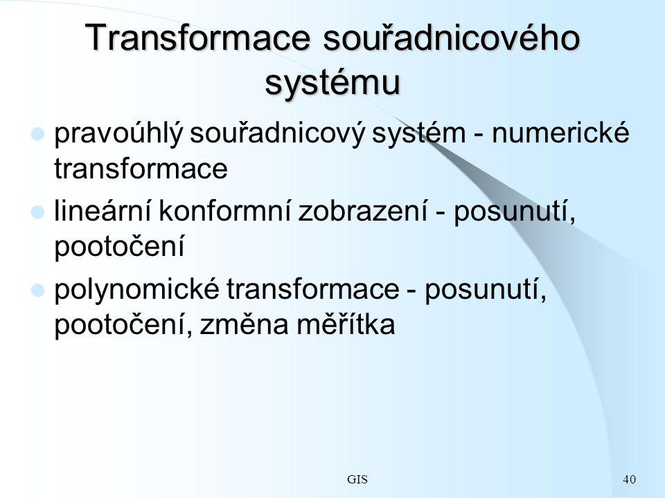 GIS40 Transformace souřadnicového systému pravoúhlý souřadnicový systém - numerické transformace lineární konformní zobrazení - posunutí, pootočení polynomické transformace - posunutí, pootočení, změna měřítka