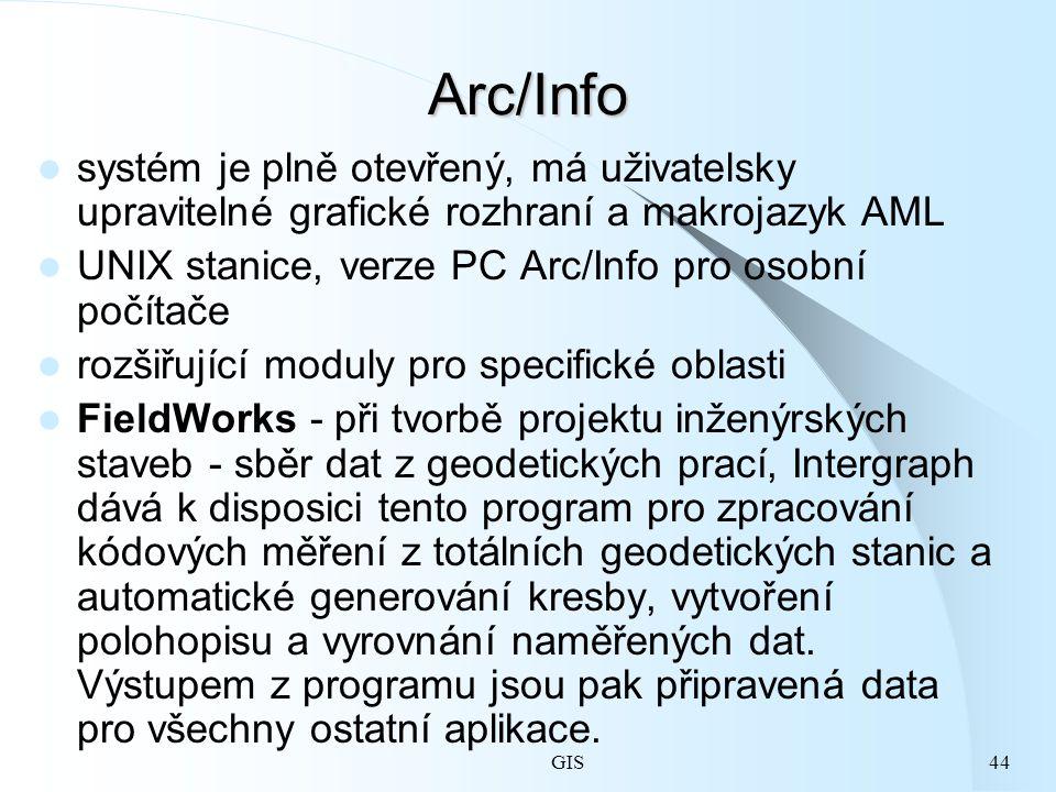 GIS44 Arc/Info systém je plně otevřený, má uživatelsky upravitelné grafické rozhraní a makrojazyk AML UNIX stanice, verze PC Arc/Info pro osobní počítače rozšiřující moduly pro specifické oblasti FieldWorks - při tvorbě projektu inženýrských staveb - sběr dat z geodetických prací, Intergraph dává k disposici tento program pro zpracování kódových měření z totálních geodetických stanic a automatické generování kresby, vytvoření polohopisu a vyrovnání naměřených dat.