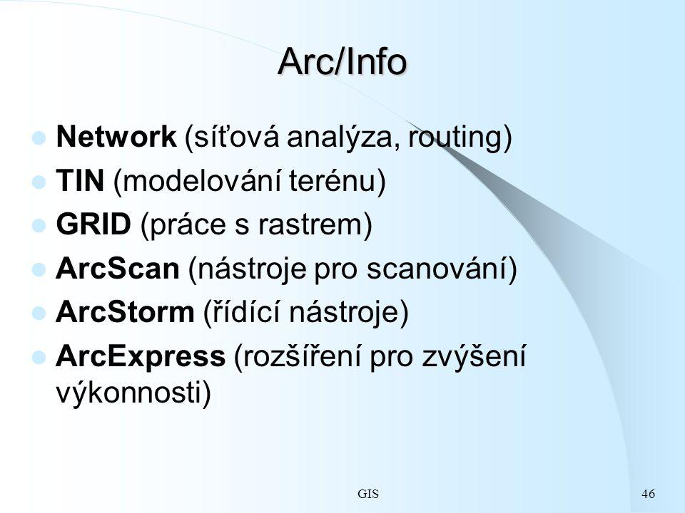 GIS46 Arc/Info Network (síťová analýza, routing) TIN (modelování terénu) GRID (práce s rastrem) ArcScan (nástroje pro scanování) ArcStorm (řídící nástroje) ArcExpress (rozšíření pro zvýšení výkonnosti)