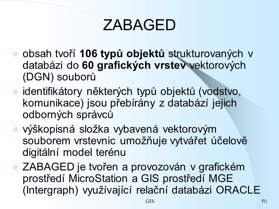 GIS50 ZABAGED obsah tvoří 106 typů objektů strukturovaných v databázi do 60 grafických vrstev vektorových (DGN) souborů identifikátory některých typů objektů (vodstvo, komunikace) jsou přebírány z databází jejich odborných správců výškopisná složka vybavená vektorovým souborem vrstevnic umožňuje vytvářet účelově digitální model terénu ZABAGED je tvořen a provozován v grafickém prostředí MicroStation a GIS prostředí MGE (Intergraph) využívající relační databázi ORACLE