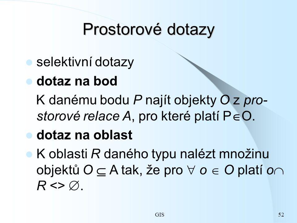GIS52 Prostorové dotazy selektivní dotazy dotaz na bod K danému bodu P najít objekty O z pro- storové relace A, pro které platí P  O.