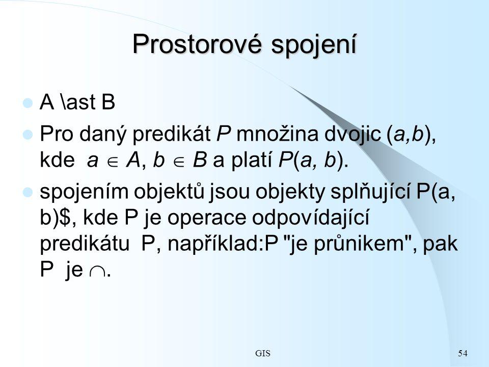 GIS54 Prostorové spojení A \ast B Pro daný predikát P množina dvojic (a,b), kde a  A, b  B a platí P(a, b).