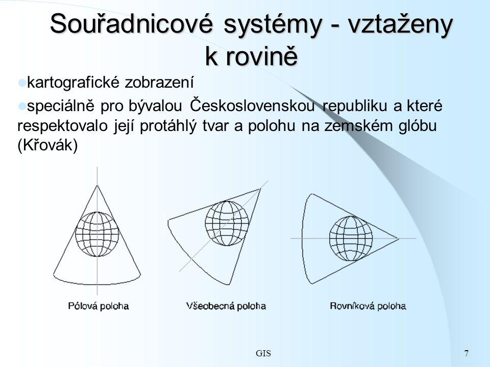 GIS7 Souřadnicové systémy - vztaženy k rovině kartografické zobrazení speciálně pro bývalou Československou republiku a které respektovalo její protáhlý tvar a polohu na zemském glóbu (Křovák)
