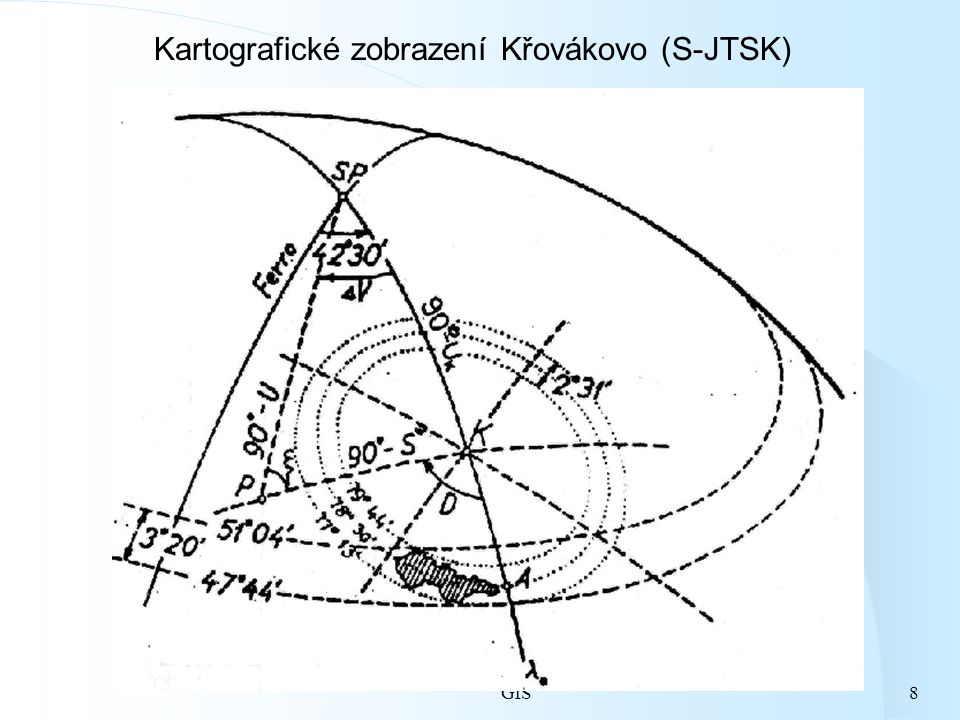 GIS8 Kartografické zobrazení Křovákovo (S-JTSK)