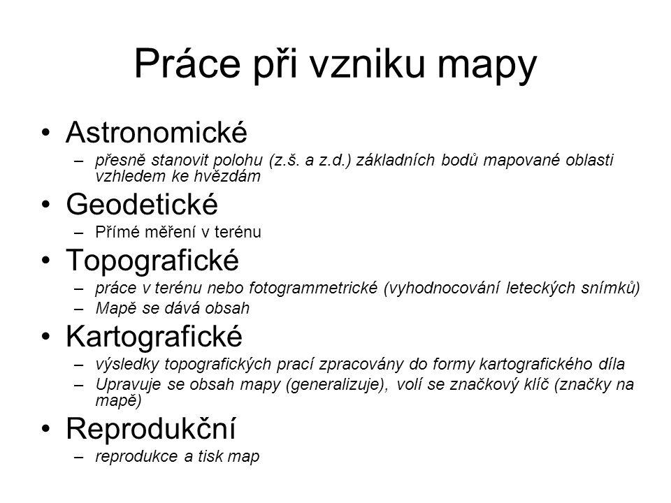 Práce při vzniku mapy Astronomické –přesně stanovit polohu (z.š.