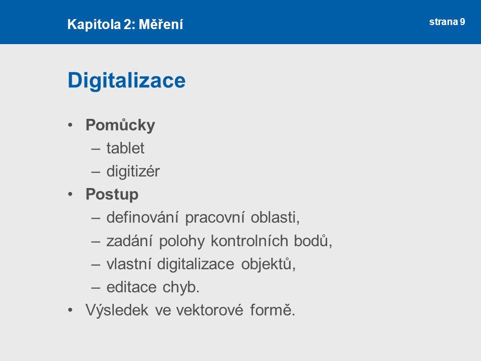 strana 9 Digitalizace Pomůcky –tablet –digitizér Postup –definování pracovní oblasti, –zadání polohy kontrolních bodů, –vlastní digitalizace objektů,