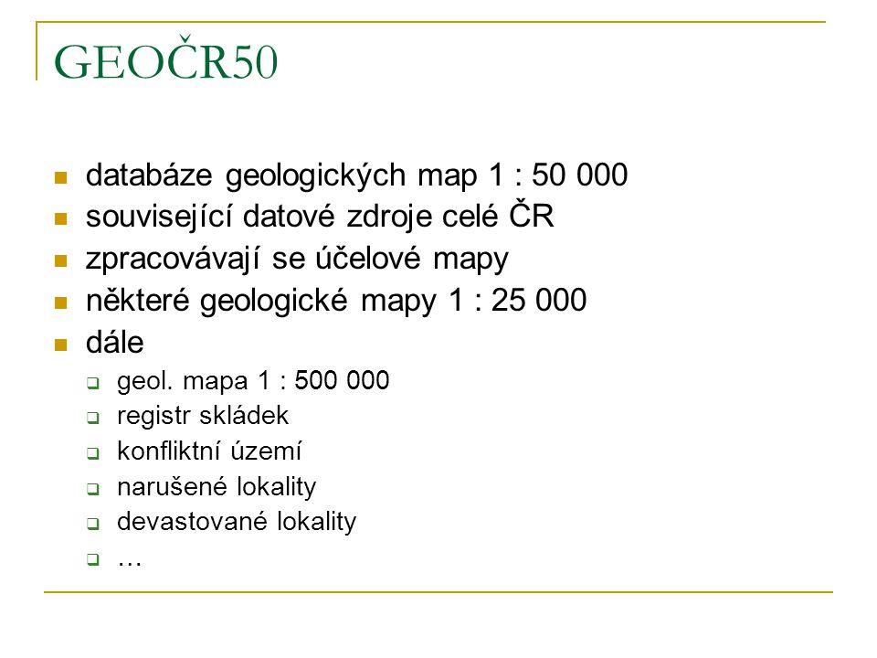 eEarth Česká geologická služba elektronický přístup ke geologickým datům evropských databází vrtů 6 zemí EU: www.eearth.eu www.geofond.cz/mapsphere/EE