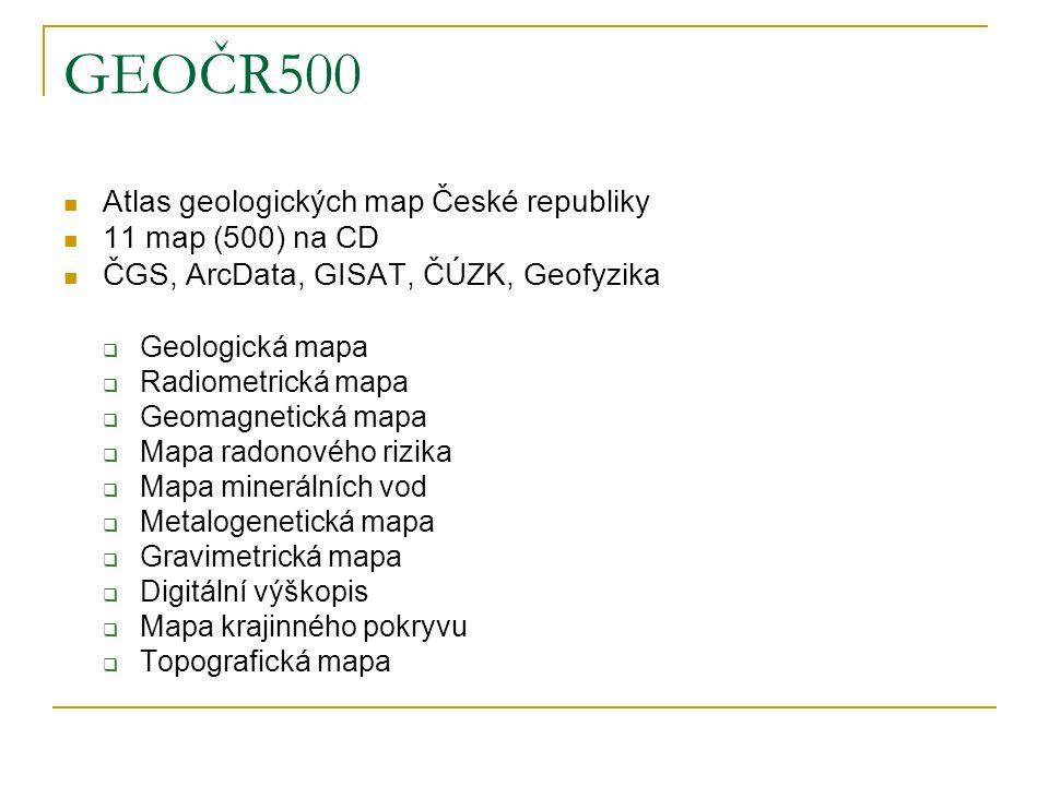 GEOČR50 databáze geologických map 1 : 50 000 související datové zdroje celé ČR zpracovávají se účelové mapy některé geologické mapy 1 : 25 000 dále 