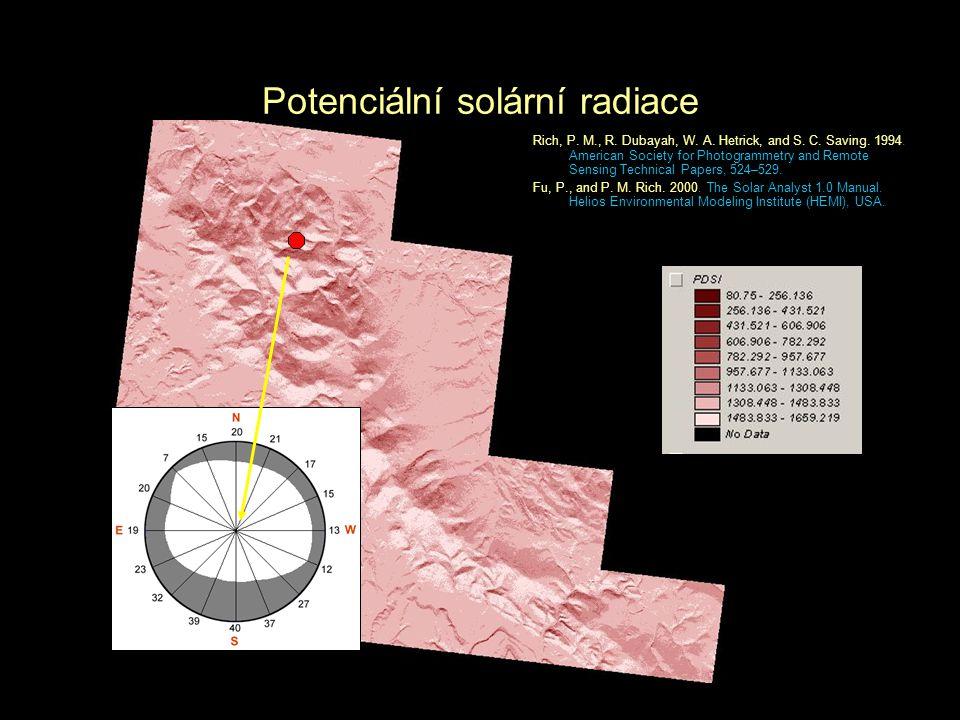 Potenciální solární radiace Rich, P. M., R. Dubayah, W. A. Hetrick, and S. C. Saving. 1994. American Society for Photogrammetry and Remote Sensing Tec