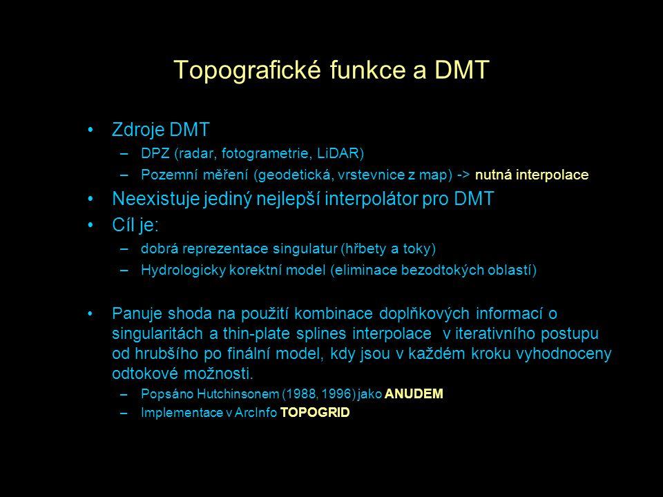 Topografické funkce a DMT Zdroje DMT –DPZ (radar, fotogrametrie, LiDAR) –Pozemní měření (geodetická, vrstevnice z map) -> nutná interpolace Neexistuje